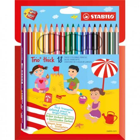 Stabilo Trio Maxi matita colorata colori assortiti - Astuccio da 18