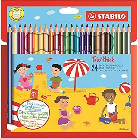 Stabilo Trio Maxi matita colorata colori assortiti - Astuccio da 24