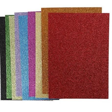 Fogli gomma Eva colorati glitterati A4