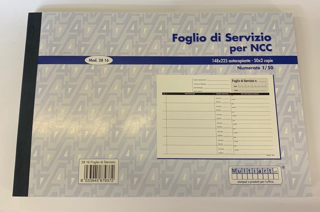 Popolare Foglio di Servizio per NCC - Vassallo: tutto per l'ufficio IH89